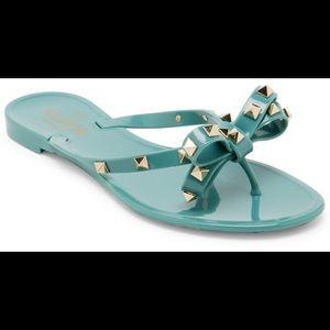 Valentino rockstud flip flop jelly blue gold bow